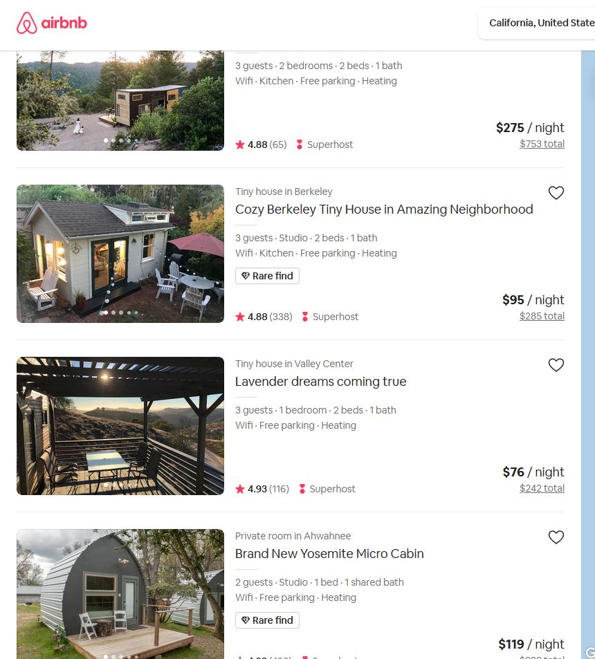 Where to rent a tiny house